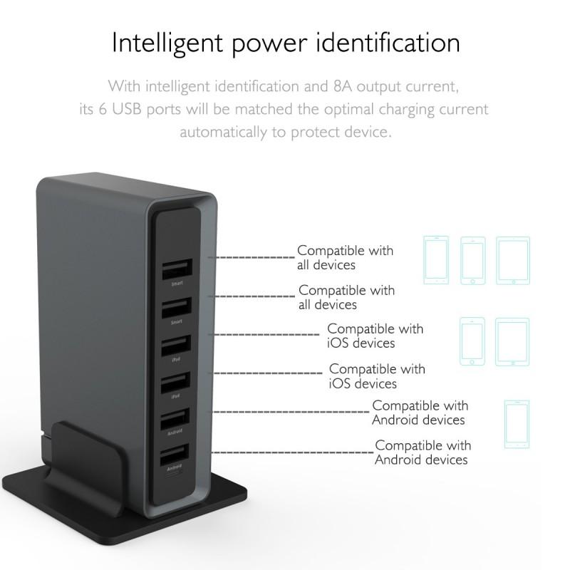 Dock USB ROCK 6 prises Noir