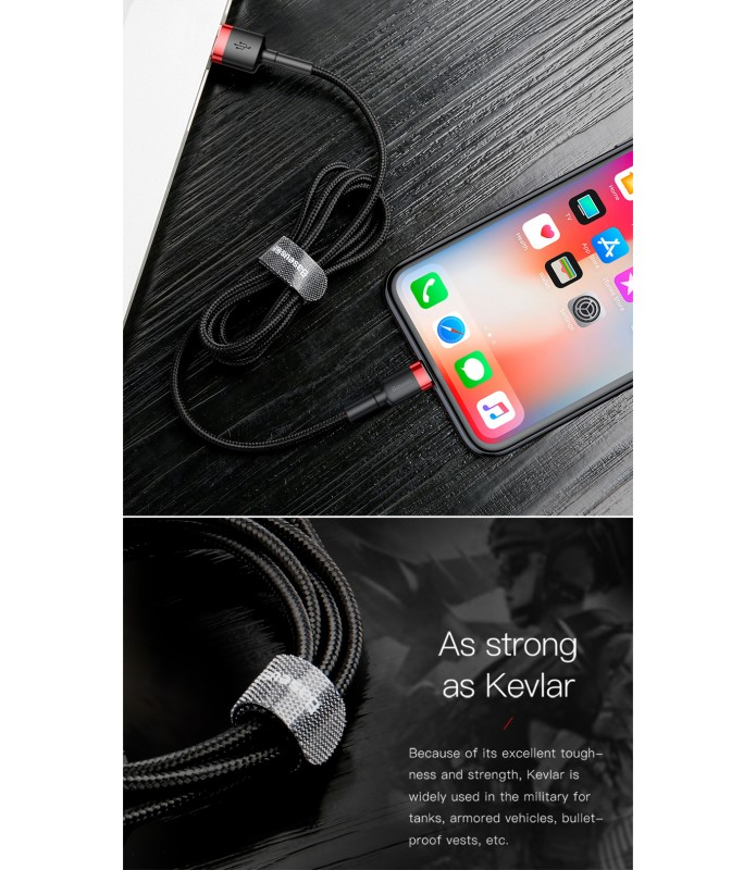 Cable Baseus Lighting USB 3 mètre MFI 2A tréssé