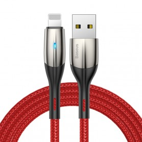 Câble de charge rapide Baseus 1.5A USB vers 8 broches en nylon tissé avec voyant lumineux, longueur du câble: 2 m